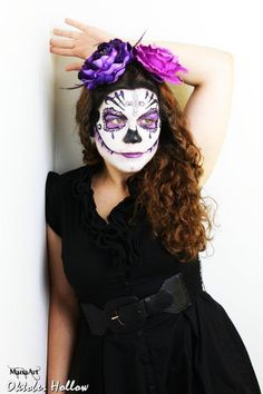 Sugar Skull Day of the Dead Face Paint    ManaArt Face & Body Painting and Oktober Hollow Photography