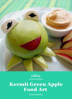 It ain't easy being green ... but it sure is tasty! Fashion Kermit the Frog out of a green apple and a few other ingredients and watch your kid's imagination come to life with their Muppets food art friend.