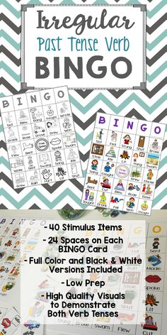This Irregular Past Tense Verb BINGO game is both challenging and FUN! It features 40 different irregular past tense verbs, full color, black & white versions, and low prep!