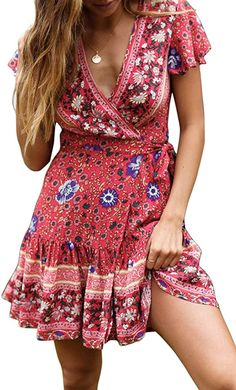 ZESICA Women's Summer Wrap V Neck Bohemian Floral Print Ruffle Swing A Line Beach Mini Dress fashion outfits winter dresses 2020 fashion dresses casual dresses indian dress casual fashion tshirt ideas Robe Swing, Swing Dress, Short Beach Dresses, Summer Dresses, Mini Dresses, Winter Dresses, Blue Dresses, Summer Outfits, Elegant Dresses