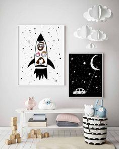 Astronaut family illustration custom space print spaceman family on the spaceship custom rocket art vertical rocket print - Kinderzimmer