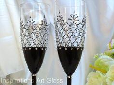 Black Lace Champagne glasses, Toasting Flutes, Wine Glasses with stones, Set of 2, Black Wedding Glasses
