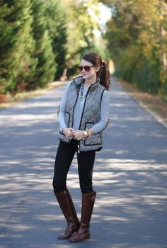 Southern Curls  Pearls: Elbow Patches  Gray sweater, black jeans, brown boots, touch of tortoise