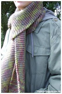 Great knitting project for beginners - Garter stitch scarf.  Fitzbirch Crafts