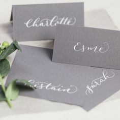 Beautiful hand-written calligraphy place cards that will add the finishing touch to your wedding. The cards are written with high quality gouache ink on 175gsm card. First and Second names, or just first names are available. Cards are available in the following sizes: Folded place name card : 100 x 50 mm (when folded) Flat …