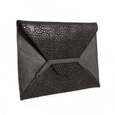 Detail Black Leather Envelope Clutch