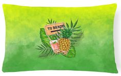 To the Beach Summer Canvas Fabric Decorative Pillow BB7450PW1216