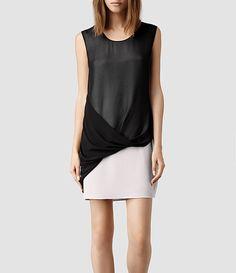 Mujer Afia Dee Dress (Stone/Blk)   ALLSAINTS.com