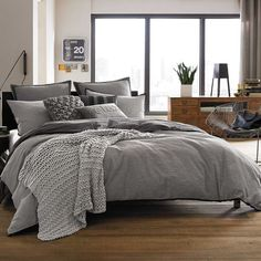 Kenneth Cole Reaction Home Oxford Comforter in Grey Stripe ($29) ❤ liked on Polyvore featuring home, bed & bath, bedding, comforters, reversible bedding, grey striped comforter, stripe comforter, stripe bedding and gray striped comforter
