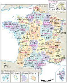 Carte de France administrative découpée par régions et départements