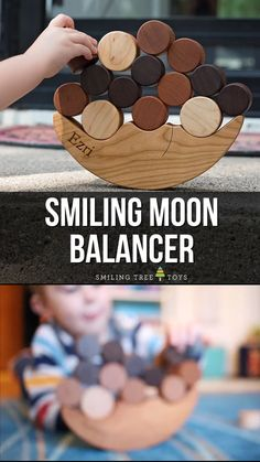 Mar 2020 - Smiling Moon Balancer is a fun and challenging game for toddlers. Hone motor skills while having a blast playing with this adorable wood toy. Made with all organic materials and sustainable practices for a green gift the whole family will love. Diy For Kids, Crafts For Kids, Wood Projects For Kids, Wooden Projects, Wood Crafts, Art Projects, Diy Montessori Toys, Best Toddler Gifts, Diy Sensory Board
