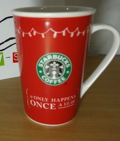 Starbucks It Only Happens Once a Year Holiday Stocking Red Coffee Mug 2005 12oz  #Starbucks