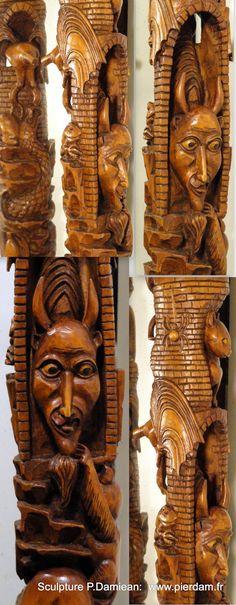 Détails: le Diable traversant le Fût du Bâton de l' Arche de Noé...(voir le Tableau: Sculpture: Bâton de l' Arche de Noé).... Sculptures sur Fût de buis par Pierre Damiean. Voir le Site: www.pierdam.fr
