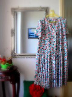 vintage 1950s summer pleated dress XXL plus size