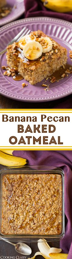 Banana Pecan Baked Oatmeal - hearty, healthy and completely delicious! Like banana bread in oatmeal form! Great served with blueberries. What's For Breakfast, Breakfast Dishes, Breakfast Recipes, Brunch Recipes, Sweet Recipes, Dessert Recipes, Delicious Desserts, Yummy Food, Baked Oatmeal