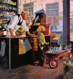 Bottle Return, Detail from Saturday Evening Post March 1959