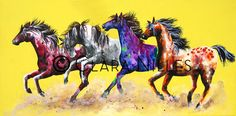 This band of frolicking wild ponies are kicking up colorful dust. It is on a super bright pineapple yellow. Painted Ponies on Pine. Pineapple Yellow, Painted Pony, Ponies, Moose Art, Canvas, Artist, Animals, Tela, Animales