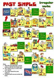English worksheet: PAST SIMPLE  - irregular verbs BOARD GAME (B&W included)