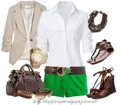"""""""Green Chino Shorts"""" by uniqueimage on Polyvore"""