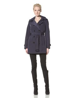 80% OFF Calvin Klein Women\'s Double-Breasted Trench (Navy)
