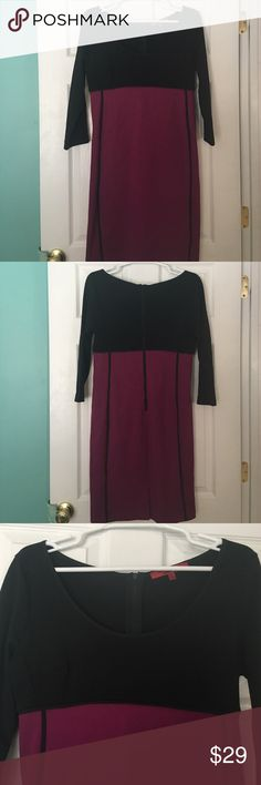 Narcisco Rodriguez for Design Nation Dress Very pretty black and plum colored dress. Empire waist. Scoop neck. Zippered back. Has a small slit in the center back. Like new. Great for going on for a special occasion, Valentine's Day, or any other holiday. Narciso Rodriguez Dresses
