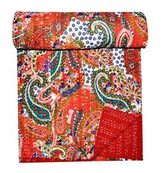 Indian Paisley Cotton Kantha Quilt Bedspread Coverlets Home Bedding Throw Decor Cotton Bedding Sets, Cotton Quilts, Floral Bedspread, Paisley Quilt, Tapestry Bedding, Bohemian Bedding, Kantha Stitch, Quilted Bedspreads, Kantha Quilt