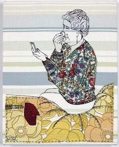 Laura McCafferty especially likes to document daily life. Stitch Drawing, Stitch Witchery, Textiles, Thread Painting, Small Art, Textile Artists, Texture Art, Art Club, Embroidery Art