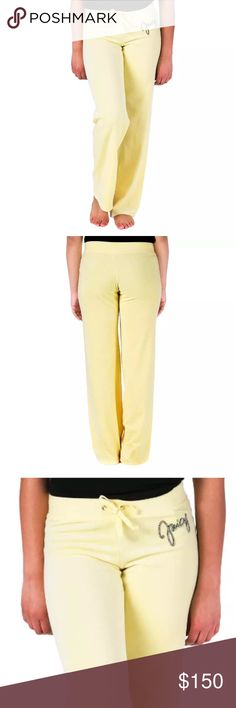 NWT⭐️Juicy Couture Island Yellow Original Leg Pant Manufacturer: Juicy Couture Black Label Size: XL Size Origin: US Manufacturer Color: Citric Anise Condition: New with tags Style Type: Track & Sweat Pants Collection: Juicy Couture Black Label Bottom Closure: Elastic Material: 78% Cotton/22% Polyester Fabric Type: Velour Specialty: Rhinestone Juicy Couture Pants