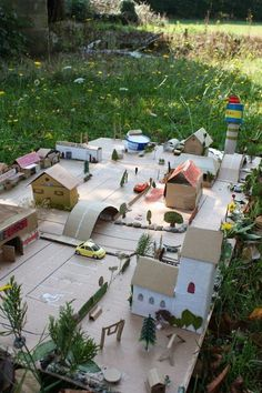 An amazing outdoor cardboard mini city - love this!