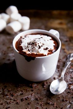 Coconut Milk Hot Chocolate Perfect for: Enjoying after a spectacularly sweet Halloween feast. Coconut Milk Whipped Cream, Homemade Whipped Cream, Almond Milk, Yummy Drinks, Yummy Food, Tasty, Delicious Recipes, Dark Chocolate Chips, Hot Chocolate