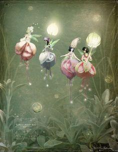 Fuchsia Flower Fairies by Susan Schroder - Mythical Fantasy Fairy Art Print - - Fantasy Kunst, Fantasy Art, Fuchsia Flower, Beautiful Fairies, Flower Fairies, Fairy Art, Fantasy Creatures, Fairy Tales, Illustrations