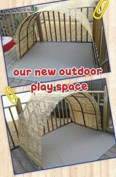 "Marie's Childminding has tied 2 garden arches together & fastened reed screening over the top to make a new play space ("",)"