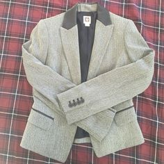 Anne Klein Faux Leather and Herringbone Jacket Perfect for dressing up a casual outfit or adding to black dress pants. Perfect condition. Worn once. Faux leather collar detail with black and white herringbone pattern. Anne Klein Jackets & Coats