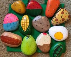 Play Food / Mud Kitchen Painted Rocks, pretend to play, play . - Play Food / Mud Kitchen Painted Rocks, pretend to play, play kitchen … Play Food / - Play Kitchens, Play Kitchen Sets, Mud Kitchen For Kids, Diy Mud Kitchen, Play Kitchen Food, Pretend Play Kitchen, Stone Crafts, Rock Crafts, Arts And Crafts