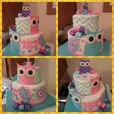 Owl baby shower cake! Search girlie girl sweets
