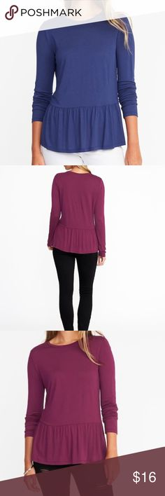 Relaxed Peplum-Hem Top Product Details: Rib-knit crew neck. Long sleeves. Gathered peplum hem. Swingy, A-line silhouette. Soft, medium-weight jersey.  Materials & Care: 100% rayon . Machine wash. Imported.  Fit & Sizing: Relaxed fit through body. Top hits below waist. Old Navy Tops