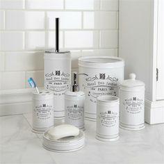 "Moda Paris Ceramic Toothbrush Holder 5.25"" H White | Kitchen Stuff Plus"