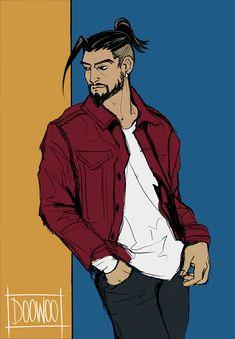 Oh No He's Hot, Shimada Brothers, Overwatch Hanzo, Hanzo Shimada, Man Sketch, Ship Art, Anime Guys, Video Game, Cool Art