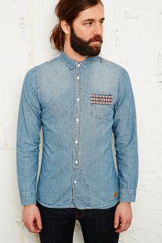 denim shirt. Menstyles fashion hair cut and beards