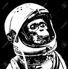 Chimp In Space Stencil Art Royalty Free Cliparts, Vectors, And ...