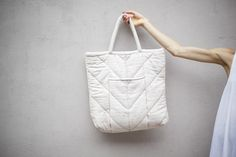 ELECTRIC FEATHERS  CHEVRON QUILTED TOTE BAG