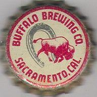 Buffalo Brewing Co., beer bottle cap | Sacramento, California USA | cap used 1938-1942 | One sold on eBay 8/2012 for $18.51.