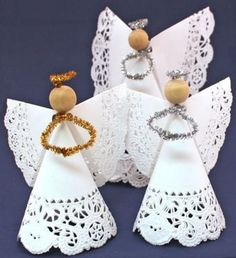 Make this easy angel crafts doily paper angel faster than it takes to read the instructions. The fun and easy project only needs two paper doilies, a wooden bead, a chenille wire and some tape. Christmas Angel Crafts, Creative Christmas Trees, Christmas Art, Holiday Crafts, Christmas Decorations, Christmas Ornaments, Christmas Gifts, Christmas Poinsettia, July Crafts