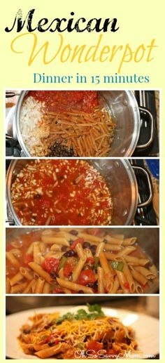Mexican Wonderpot Recipe with broth, Penne, tomatoes, black beans, corn, green pepper, garlic, onion, shredded cheddar, sour cream & spices