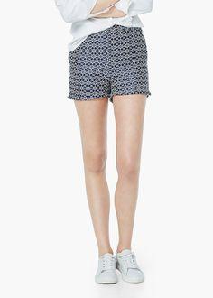 Shorts aus baumwoll-jacquard - Hosen für Damen   MANGO