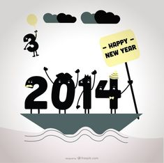 2014 Saying Goodbye To 2013 Card Design Free Vector