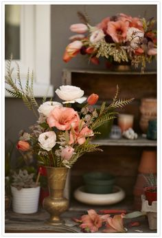 A Bohemian Summer Party + Shop Floral Centerpieces, Wedding Centerpieces, Floral Arrangements, Wedding Decorations, Flower Arrangement, Wedding Ideas, Wedding Table, Wedding Photos, Peach Bouquet