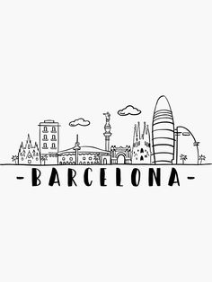 Barcelona Skyline Travel sticker by DuxDesign   Redbubble. Barcelona travel inspired design. City of Spain, sights and history. Skyline and Cityscape. For locals, residents and travelers. Mini Drawings, Doodle Drawings, Easy Drawings, Travel Doodles, Travel Collage, Michigan, City Drawing, Image Originale, Travel Icon