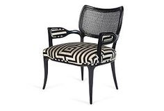 Hollywood Regency Black Lacquered Chair