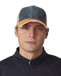 f5fec99dd4814 Navy Tangerine Structured Mid-Profile Trucker Hat